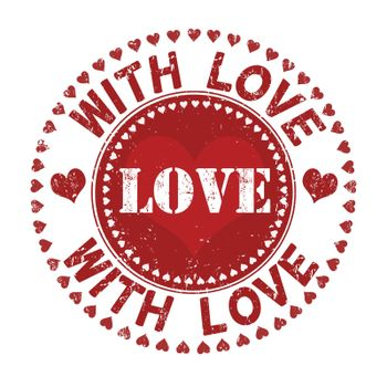 With love grunge rubber stamp on white, vector illustration