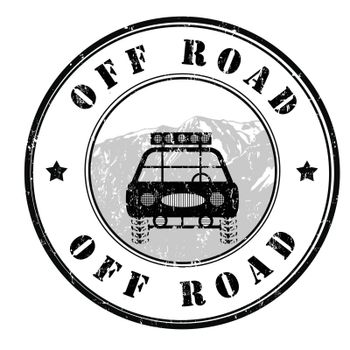 Off road grunge rubber stamp on white, vector illustration