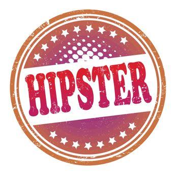 Hipster grunge rubber stamp on white, vector illustration