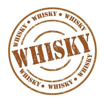 Whisky grunge rubber stamp on white, vector illustration