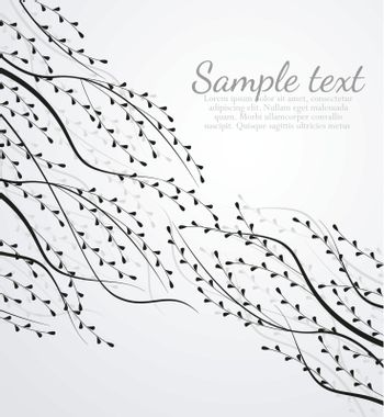Decoration of leaves with place for text