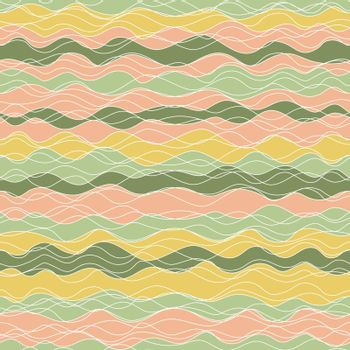 abstract seamless background with wave. green, orange color