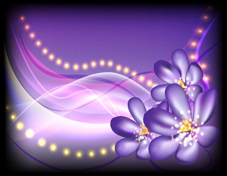 violet flowers, black, white, flowing lines, glowing sparks, abstract, background, vector