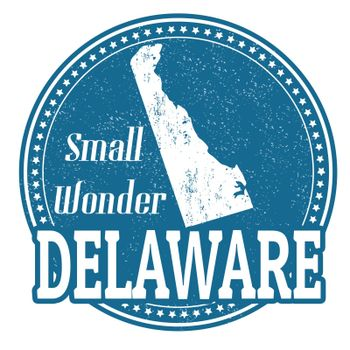 Vintage stamp with text Small Wonder written inside and map of Delaware, vector illustration