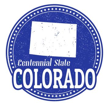 Vintage stamp with text Centennial State written inside and map of Colorado, vector illustration
