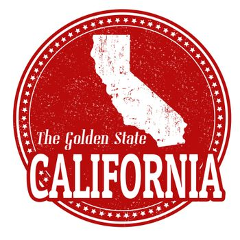 Vintage stamp with text The Golden State written inside and map of California, vector illustration