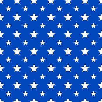 Star seamless pattern on blue background