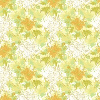 Seamless floral background, hibiscus flowers and leaves and abstract pattern. Vector