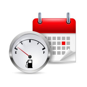 Icon of fuel indicator and calendar with marked day