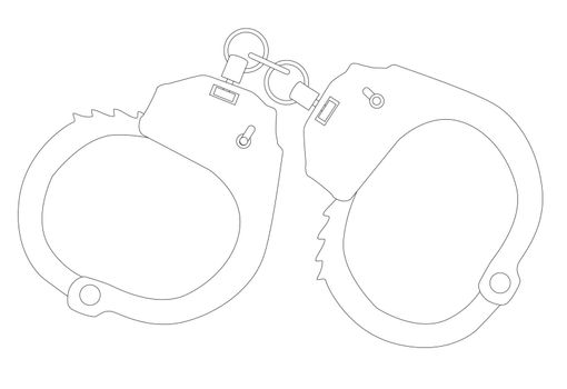 A set of metal handcuffs in ouline over a white background.