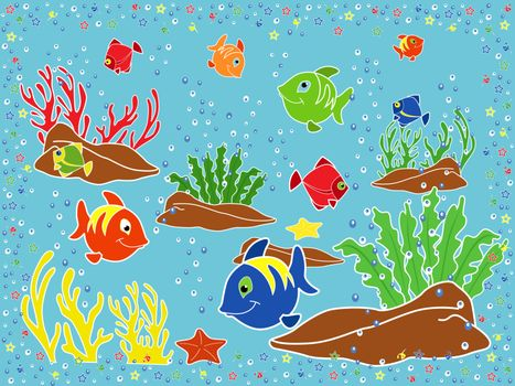 Underwater marine life. Fishes, coral, starfish and seaweed on the seabed. Hand drawing vector illustration