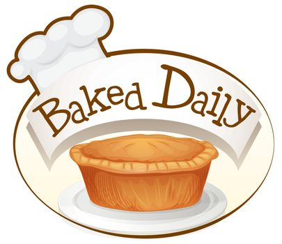 Illustration of a baked daily label with a cupcake on a white background