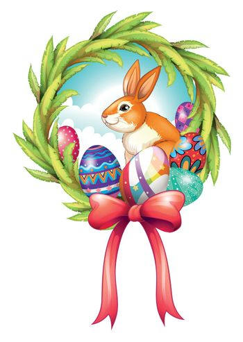 Illustration of an easter decor with a ribbon on a white background