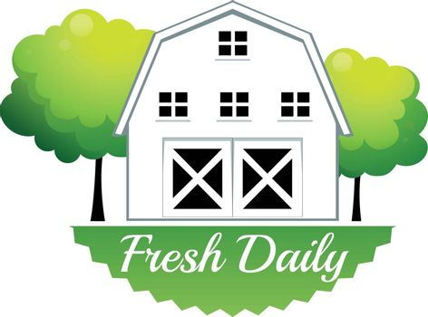 Illustration of a fresh daily label with a barn on a white background