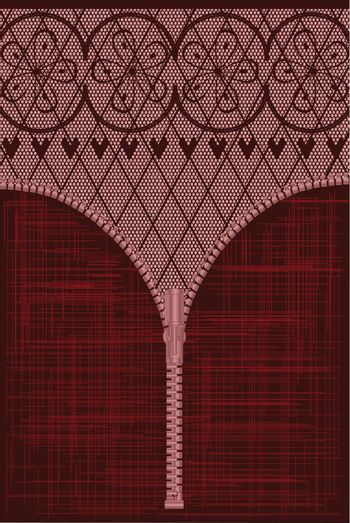 A lace stocking background in a fishnet style with hearts and flowers with a zipper foreground