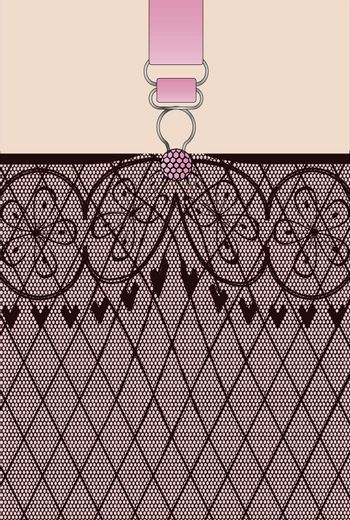 A lace stocking background in a fishnet style with hearts and flowers and a suspender button