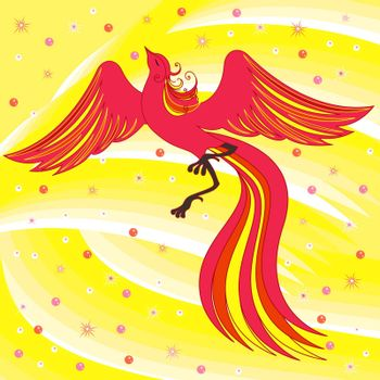 Beautiful graceful red Firebird on abstract background with yellow shades. Hand drawing vector illustration