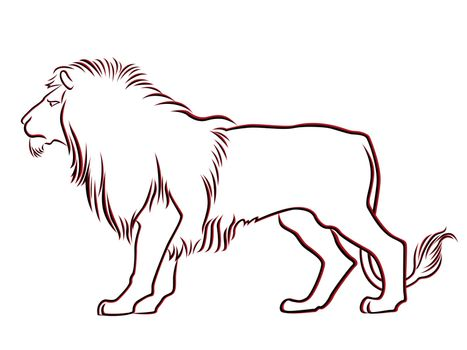 Black and red graceful Lion contour isolated over white. Hand drawing vector illustration