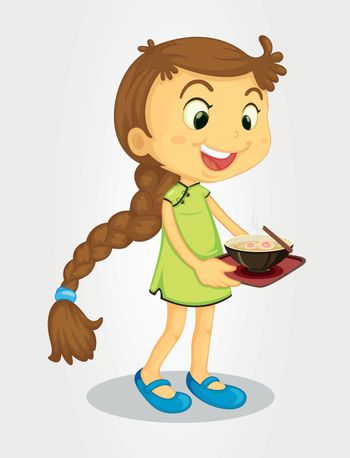 Illustration of a long-haired girl with noodles