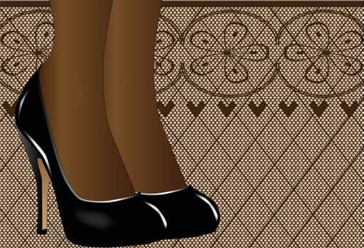 A pair of ladies legs in steletto heal shoes against a stocking type background