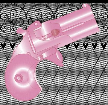 A Derringer pistol in pink over a lace stocking background in a fishnet style with hearts and flowers