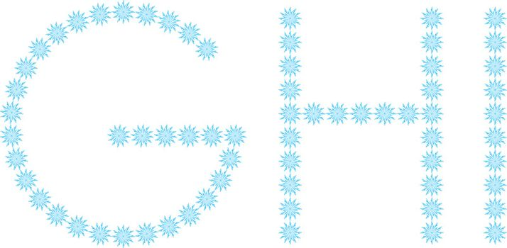 """illustration of the letter """"G,H,I"""" formed by snowflakes"""