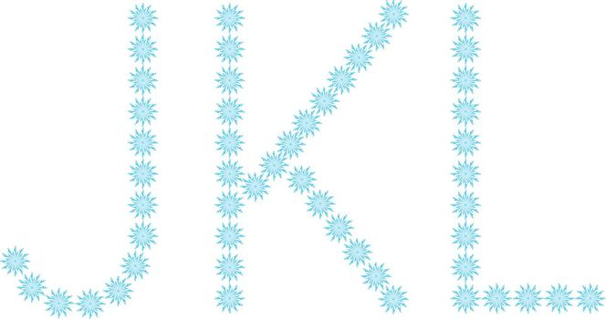 """illustration of the letter """"J,K,L"""" formed by snowflakes"""
