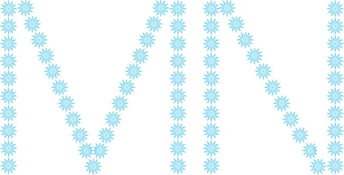 """illustration of the letter """"M,N"""" formed by snowflakes"""