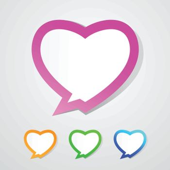 Love - speech bubble. Heart from paper Valentines day card. Vector background eps 10