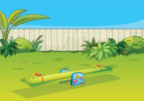 Illustration of a sea-saw playing equipment in a beautiful nature