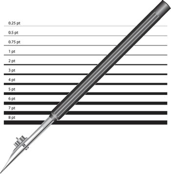 Old version of the drawing pen with a line width options. Vector illustration.