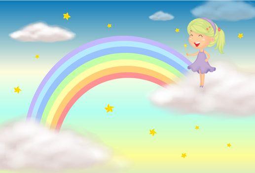 Illustration of a fairy near the rainbow