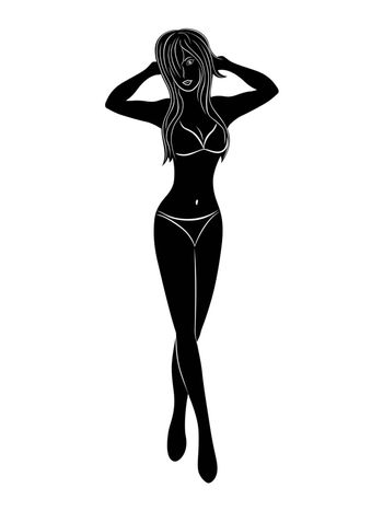 Beautiful young graceful woman in bikini, vector hand drawing black silhouette on a white background