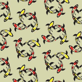 Seamless wallpaper carp koi. Vector illustration