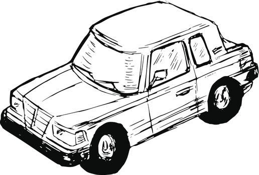 hand drawn, sketch, cartoon illustration of toy car