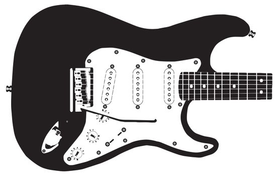 Drawing of a modern rock guitar isolated on a white background.