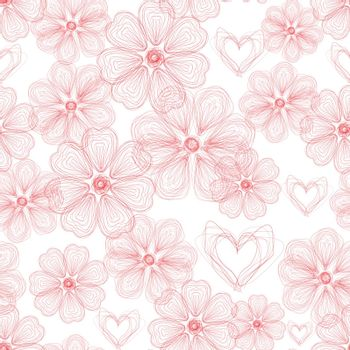 Abstract Nature Pattern with plants, flowers. Seamless background