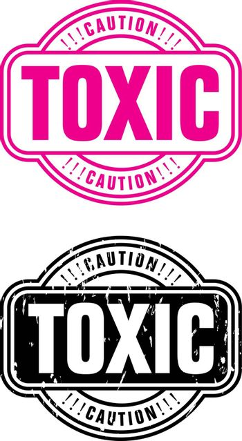 Illustration stamp with the text caution and toxic