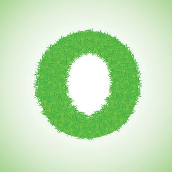 colorful illustration with grass letter on a green background for your design