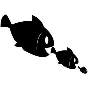 Concept illustration showing smaller fish being eaten by bigger fish