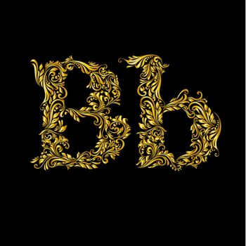 The patterned letter B on the black background.
