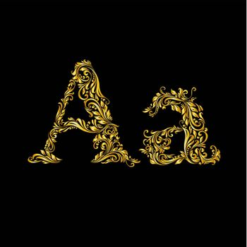 The patterned letter A on the black background.