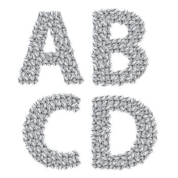 illustration with gray letters  on a white background  for your design