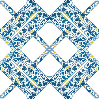 Seamless pattern illustrated element in traditional style - like Portuguese tile