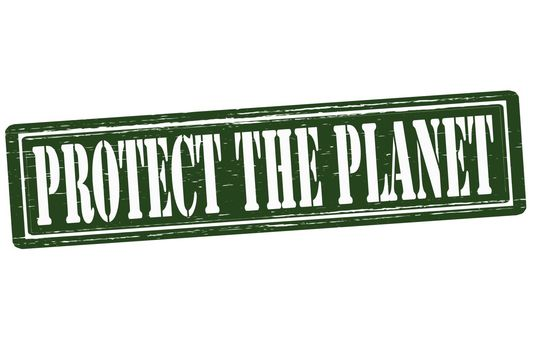 Stamp with text protect the planet inside,vector illustration