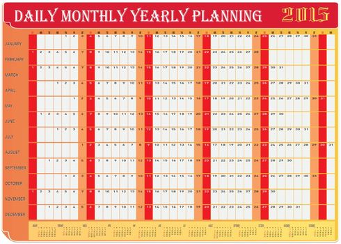 Vector of Planning Chart of All Daily Monthly Yearly 2015.