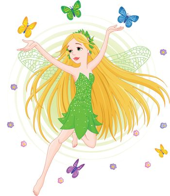 Illustration of a spring fairy in flight surrounded by butterfly