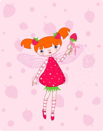 Cute strawberry fairy flying on pink background