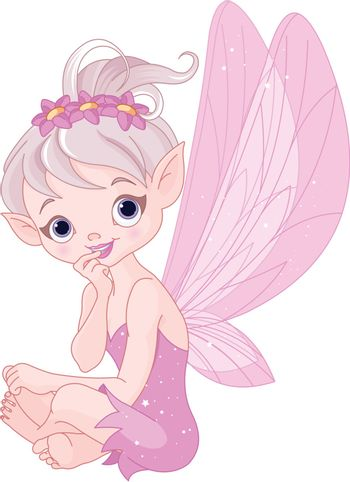 Very cute fairy sitting and listens attentively