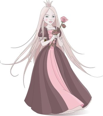 Illustration of beautiful princess holds a pink rose.